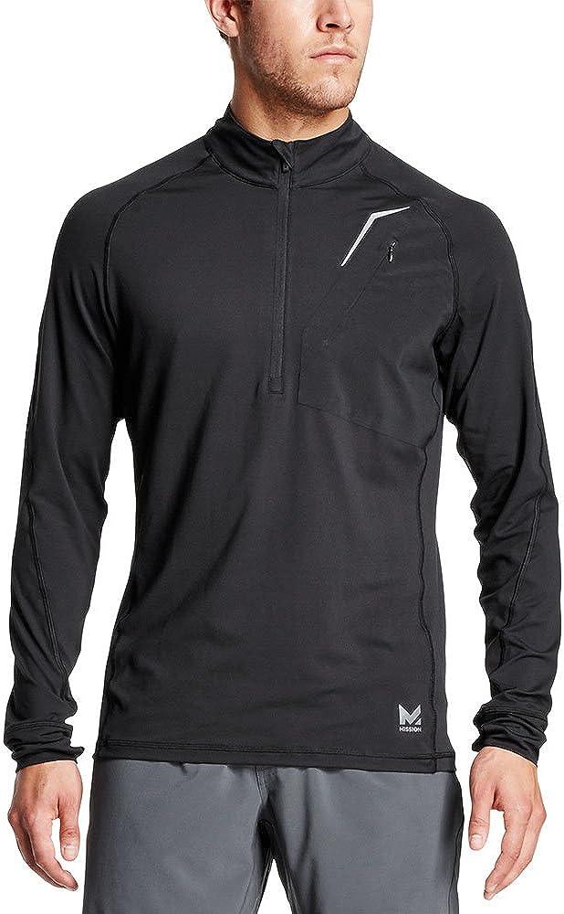 Mission Men's VaporActive Stamina Lightweight 1/4 Zip Long Sleeve Pullover, Moonless Night, X-Large