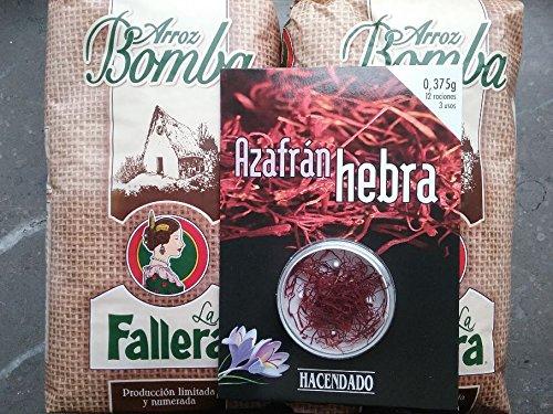 2kg Riso Bomba la Fallera + 0,375gr. Zafferano Hacendado per paella
