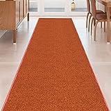 Burnt-Orange Solid Plain Rubber Backed Non-Slip Hallway Stair Kitchen Runner Rug Carpet 22in X 5ft