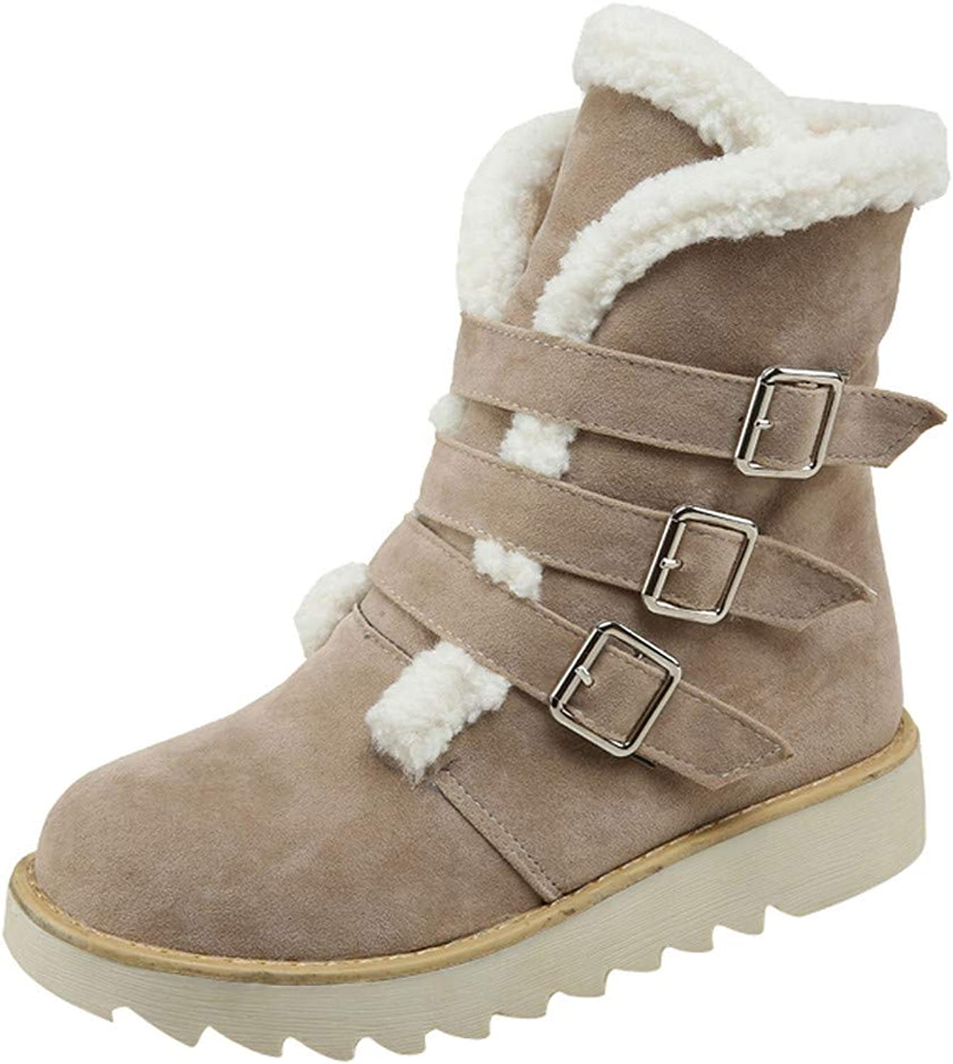 JESPER Women Suede Woolen Lining Snow Boots Round Toe Buckle Strap shoes Warm Ankle Boots