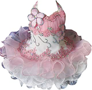 Junguan Toddler Girls Halter Pageant Cupcake Dresses Little Baby Short Ball Gowns with Crystals 2020 MN058
