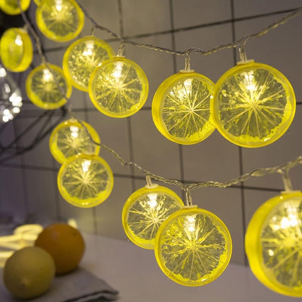 廃止以来弾丸レモン イルミネーションライト ストリングライトled 電池式 室内 クリスマス 3m20led 5m50led フェアリーライト パーティー用 飾り用 (レモン-イエロー電池式, 5m50led)