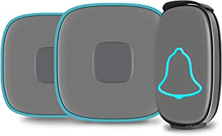 Best Wireless Doorbell, BO YING Waterproof Door Bell, Chime Kit with Sound and LED Flash, Operating at 1000ft Range with 38 Melodies to Choose, 4 Level Volume, 1Push Button& 2Receivers (Gray) Review