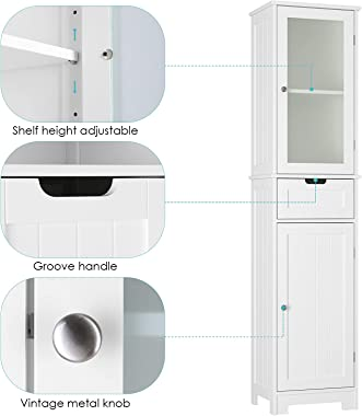 Bathroom Storage Cabinet, Tall Freestanding Cabinet with Door and Drawer, Narrow Slim Tower Cabinet with Adjustable Shelves f