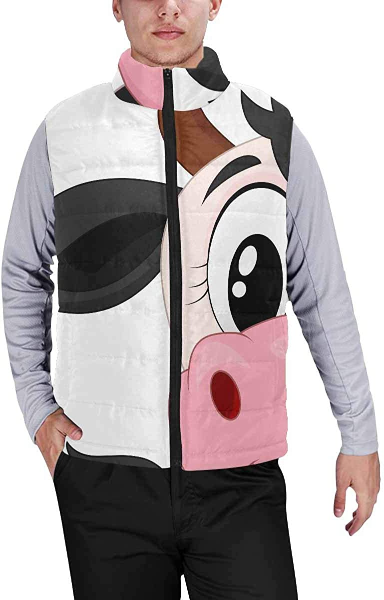 InterestPrint Men's Outdoor Casual Stand Collar Padded Vest Coats Cute Colorful with Owls and Trees