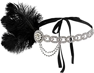 1920s Flapper Headpiece with Feathers Vintage Style Antique Rhinestone Chain Headband Great Gatsby Hair Piece