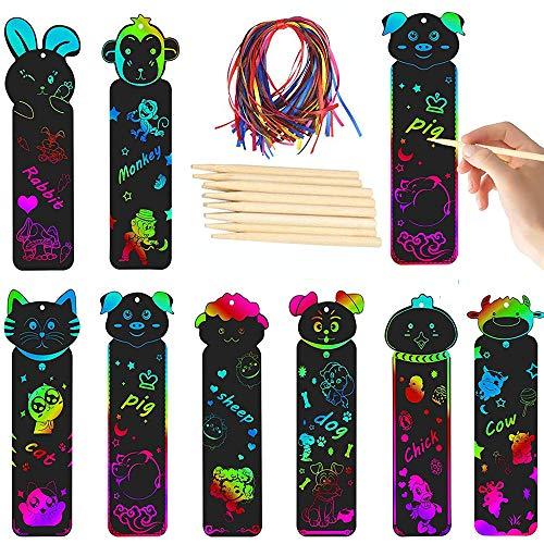 Marcador, Marcadores libros con Diseño Animales, Diseño de Arcoíris, con 48 Cuerda Colores, 24 Madera Stylus, para Niños Estudiantes Manualidades Niños