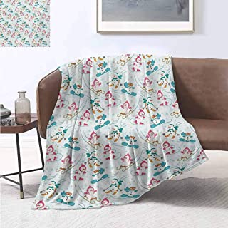 jecycleus Kids Comfortable Large Blanket Snowman Skiing on Hills Winter Cold Nursery Boys Girls Baby Playroom Cartoon Microfiber Blanket Bed Sofa or Travel W54 by L72 Inch Pale Sea Green Pink