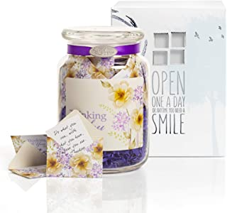 KindNotes Glass Keepsake Gift Jar with Inspirational Messages - Violet Thinking of You