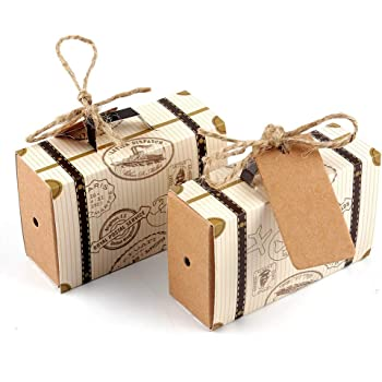 Suitcase Shape Wedding Gift Box Candy Cake Boxes Bag Wedding Party Favor BM
