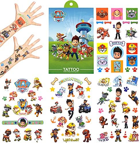 Tatuajes Temporales para Niños - simyron 4 Sheets Paw Patrol Tatoos Pegatinas Impermeable Tatuajes Temporales Para Niños Infantiles Fiesta de Cumpleaños Regalo Bolsas Relleno