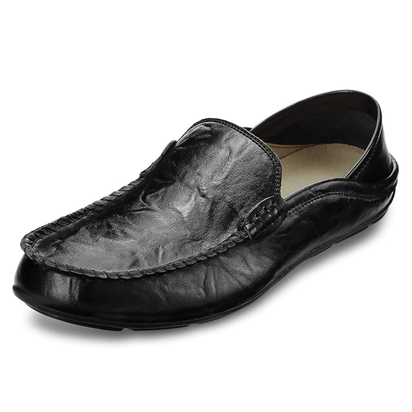 KCatsy Genuine Leather Casual Peas Shoes for Men