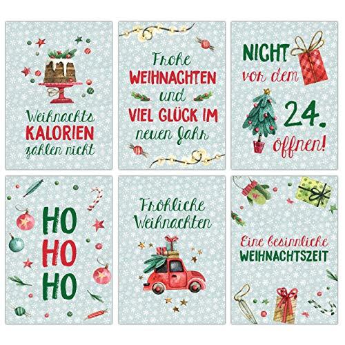 Papierdrachen Weihnachtskarten Set - 12 Postkarten für Weihnachten - Kunstdruck zum Verschicken und Sammeln - Set 11 Mint