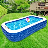 Inflatable Swimming Pool, 130' X 72' X 20' Full-Sized Family Pool, Kiddie Pool, Blow Up Pool for Baby, Kids, Kiddie, Adult Inflatable Pool for Backyard, Outdoor, Garden, Ground & Summer Water Party