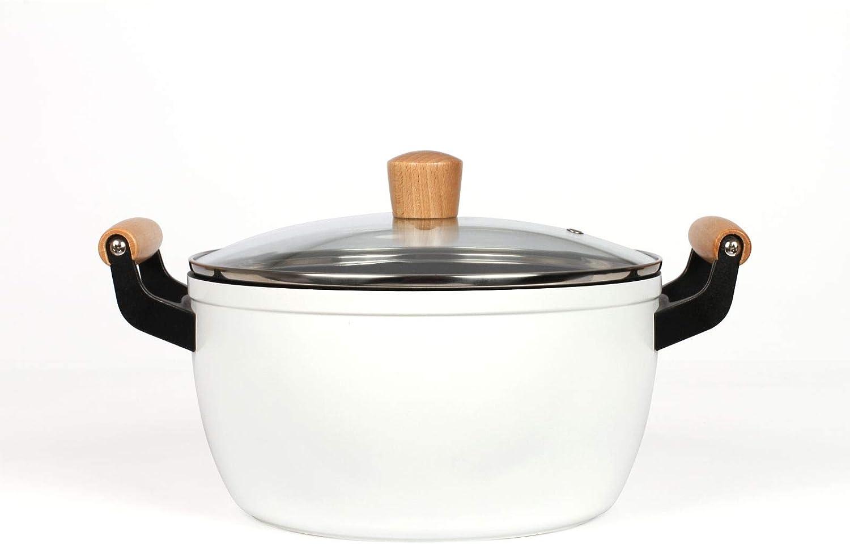 Olla de inducción de 24 cm – Cacerola de 5 litros con tapa – Olla blanca con asas de madera apta para inducción – Olla retro para verduras con tapa de cristal en color blanco