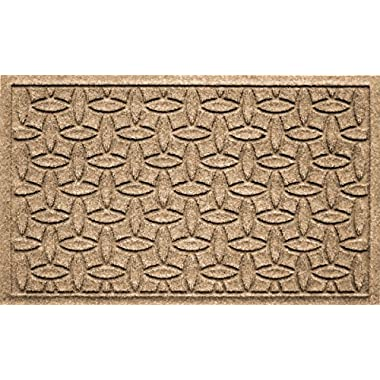 Bungalow Flooring Waterhog Doormat, 2' x 3', Skid Resistant, Easy to Clean, Catches Water and Debris, Ellipse Collection, Khaki/Camel