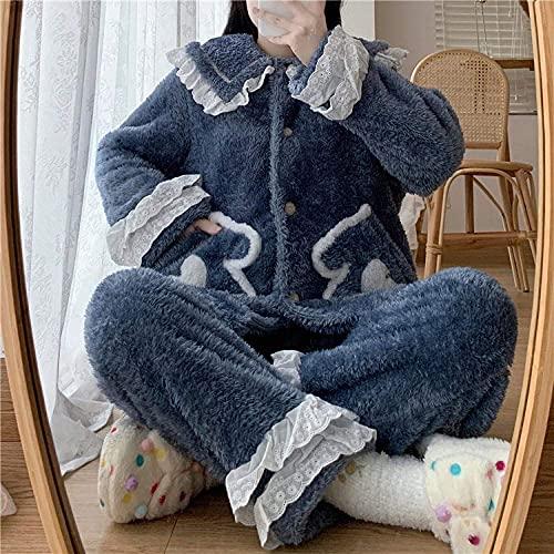 ZH Mujeres Cómoda Cálida Suave Muñeca Collar de Muñecas Sueltas de Solo Pecho Encaje Empalme Pellote Bolsillo Bordado Borde Pijama Conjunto Pijama Ladies Traje,Azul,un Tamaño