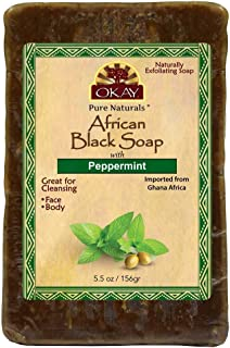 OKAY | African Black Soap with Peppermint | For All Skin Types | Cleanses and Exfoliates | Nourishes and Heals | Free of Sulfate, Silicone & Paraben | 5.5 oz