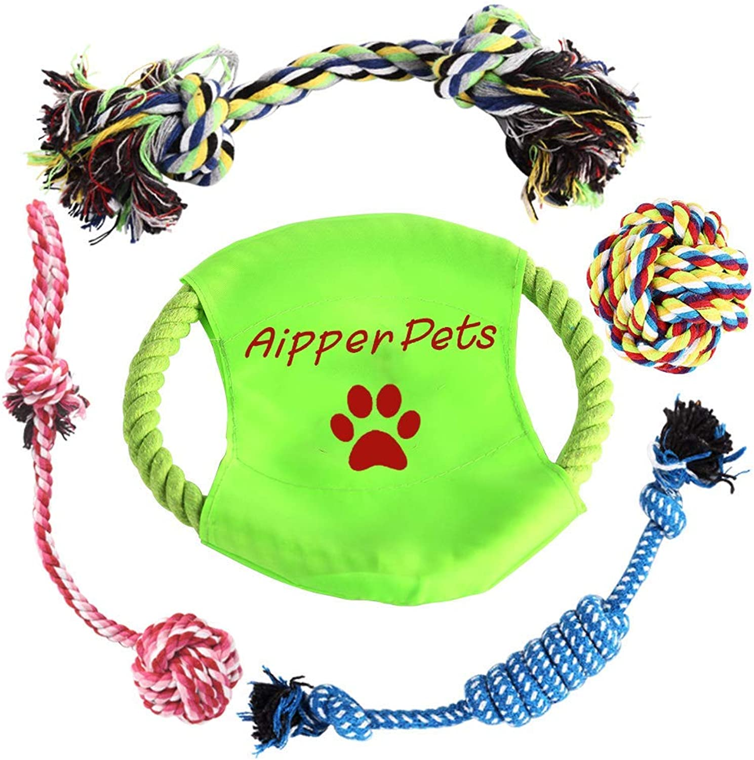 Aipper Dog Rope Toys 5 Pack, Dog Chew Toys for Playtime and as a Dental Teaser, Variety Puppy Teething Toys for Medium to Small Doggie (Random colors)