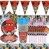 YN 74 Teilige Geburtstag Deko, Kindergeburtstag Deko Geburtstag Party Set Dekoratives Pappbecher Wimpel Tischdecke, Geburtstag Dekorationen Junge