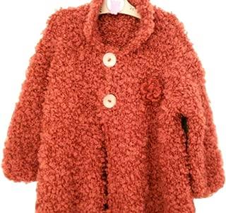 Long Sleeve Hand Knit Orange Cardigan, Girl Coats, Jacket, Wood Buttons