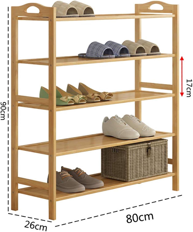 Entrance shoes Rack shoesbox Change shoes Bench Shelf Storage Shelf Multifunction Household Dorm Room Space Saving Doorway Living Room Bamboo (Size   80  26  90cm)