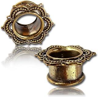Chic Brass Net tunnel lotus flower antique gold finish nickel-free brass plug expander Organic Earrings