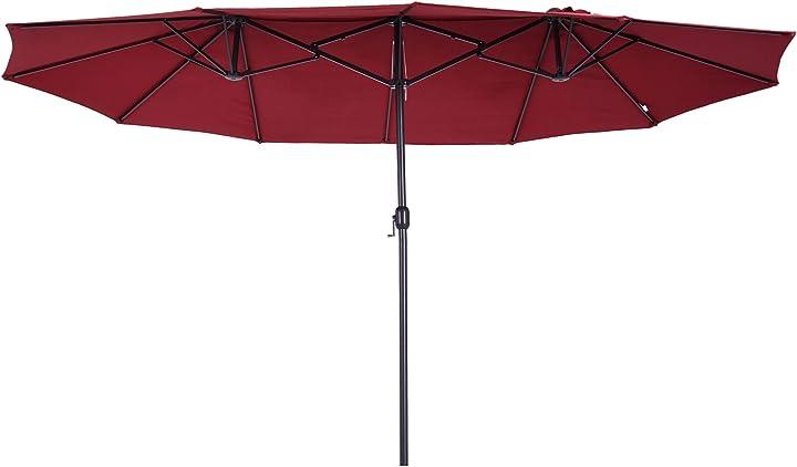 Ombrellone da giardino 460x270x240cm doppio con apertura a manovella, acciaio e poliestere rosso vino outsunny IT84D-031V01WR0631