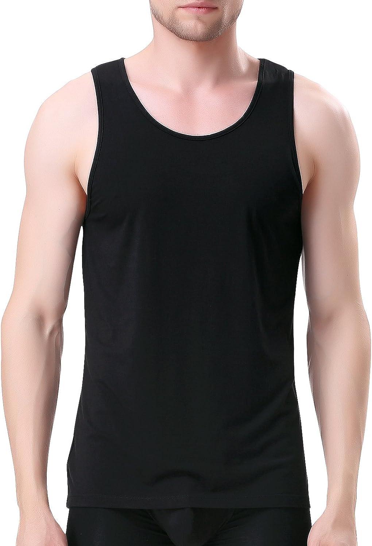 DAVID ARCHY Men's Bamboo Rayon Undershirts Crew Neck Tank Tops 3 Pack