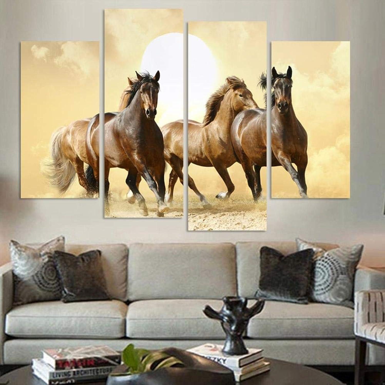 respuestas rápidas XiaoHeJD Pinturas Modernas de Lienzo de 4 Piezas Piezas Piezas Corriendo Horse Arte de la Parojo Imágenes Decoración del hogar-L  descuento online
