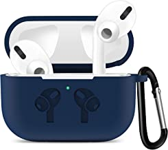 Priefy Soft Silicone Full Protective Shockproof Cover with Keychain Set Compatible with Apple AirPods Pro 3rd Gen 2019 - Blue