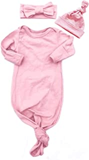 EGELEXY Newborn Baby Sleepy Striped Gown Swaddle Sack Sleepwear Romper Sleeping Bags Headband Cap