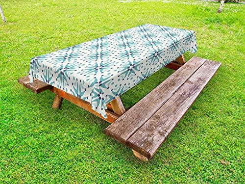 ABAKUHAUS Flora Outdoor-Tischdecke, Portugiesisch Mosaic, dekorative waschbare Picknick-Tischdecke, 145 x 265 cm, Creme Dunkelblau und Teal