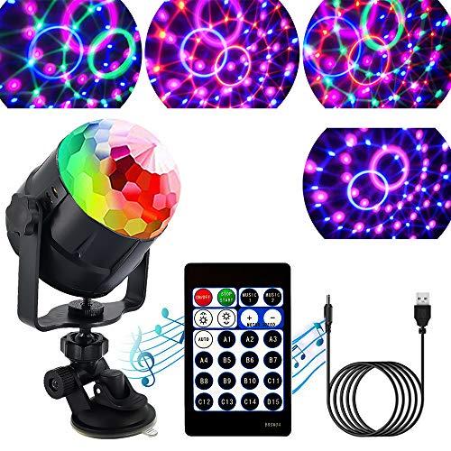 ZStarlite Bola de Luces Discoteca Giratoria para Fiesta con Cable USB, Disco Luz con 15 Colores de Iluminacion, LedGiratoria Luz para Festival,Bar