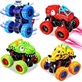 aovowog Dinosaur Toys for Kids, 4 Pack Monster Truck Toys for Boys, Pull Back Cars for Toddlers, Friction Powered Cars Birthday for Kids 3 4 5 6 Year Old Boys Girls