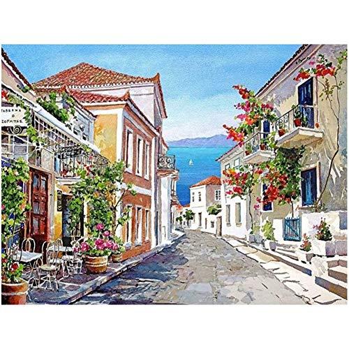 Lazodaer Kit de pintura de diamante 5D para adultos, kit de pintura de bordado de diamante, arte para decoración de la pared del hogar, ciudad pequeña por el mar, 39,8 x 30 cm