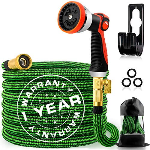 """50ft Expandable Garden Hose, Flexible Water Hose with 10 Function Nozzle, 4-Layer Latex Core and 3/4"""" Solid Brass Connectors, Durable Kink Free Lightweight Retractable Water Hose for Yard"""