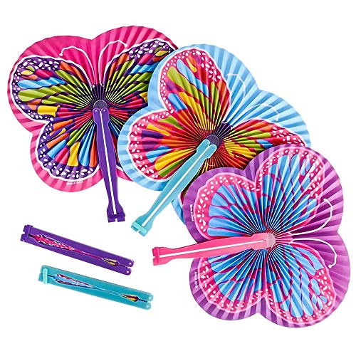 ArtCreativity 9.5 Inch Handheld Butterfly Folding Fans - Pack of 12 Foldable Fans in Assorted Colors and Designs, Goodie Bag Filler, Party Favors and Supplies, Fun Novelties and Gifts for Kids Ages 3+