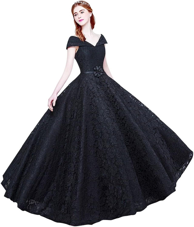 BeautyEmily V Neck Cap Sleeve Women's Elegant Lace Evening Dresses
