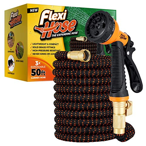 Flexi Hose with 8 Function Nozzle, Lightweight Expandable Garden Hose, No-Kink Flexibility, 3/4 Inch Solid Brass Fittings and Double Latex Core