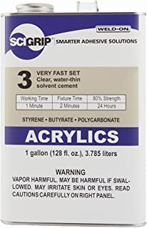 SCIGRIP 3 10299 Acrylic Solvent Cement, Low-VOC, Water-thin, 1 Gallon Can with Screw-on Cap, Clear