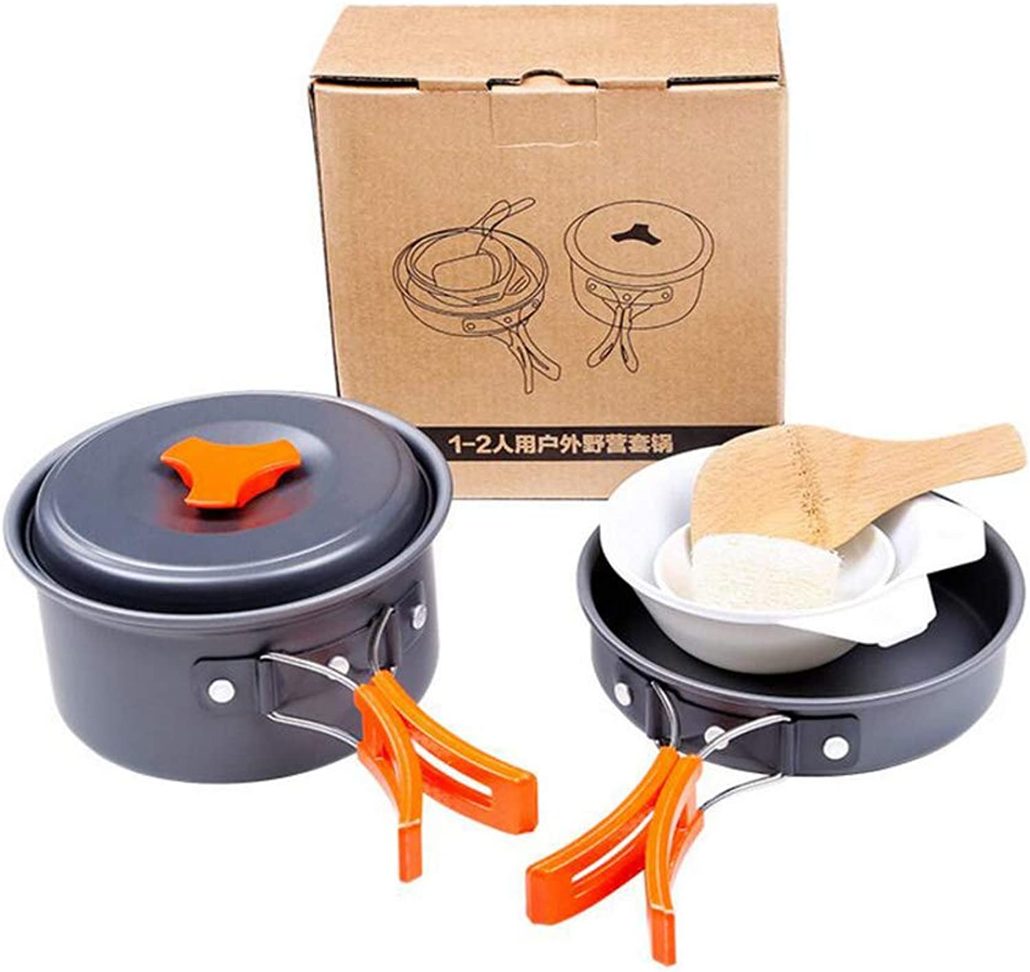 Outdoor Camping Cookware Set Tableware Cooking Travel Cutlery Utensils Pot Pan Hiking Picnic Tools Handle for 1 to 2 People Traveling