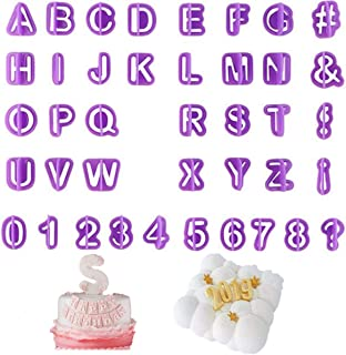 40Pcs Alphabet Number Symbol Cookie Cutters Set, Plastic Baking Decorating Pastry Biscuit Cake Fondant Pancake Stamps Mold, A More Fun Cookie to Children