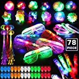78PCs LED Light Up Toy Party Favors Glow In The Dark,Party Supplies Bulk For Adult Kids Birthday Halloween With 50 Finger Light, 12 Jelly Ring, 6 Flashing Glasses, 5 Bracelet, 5 Fiber Optic Hair Light