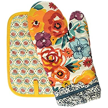 Pioneer Woman Oven Mitt & Pot Holder Bright Floral Multi-Color 2 pc Set