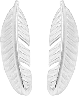 Boma Jewelry Sterling Silver Feather Stud Earrings