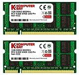 Komputerbay 2枚組 DDR2 800MHz PC2-6400 1GBX2 DUAL 200pin SODIMM ノート パソコン用 増設メモリ 2GB デュアル