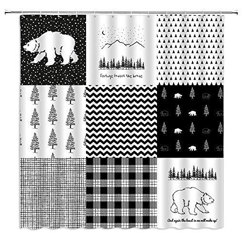 BOYIAN Bear Patchwork Shower Curtain Trees Forest Buffalo Mountain Country Patch Rustic Farmhouse Black White Plaid Stripe Wildlife Pine Fabric Bath Curtains Bathroom Polyester with Hooks 70x70Inch