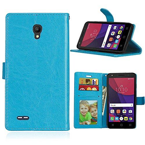 Alcatel One Touch Go Play Hülle, SATURCASE Glatt PU Lederhülle Magnetverschluss Flip Brieftasche Schutzhülle Handy Tasche Hülle mit Standfunktion für Alcatel One Touch Go Play/Conquest (Blau)