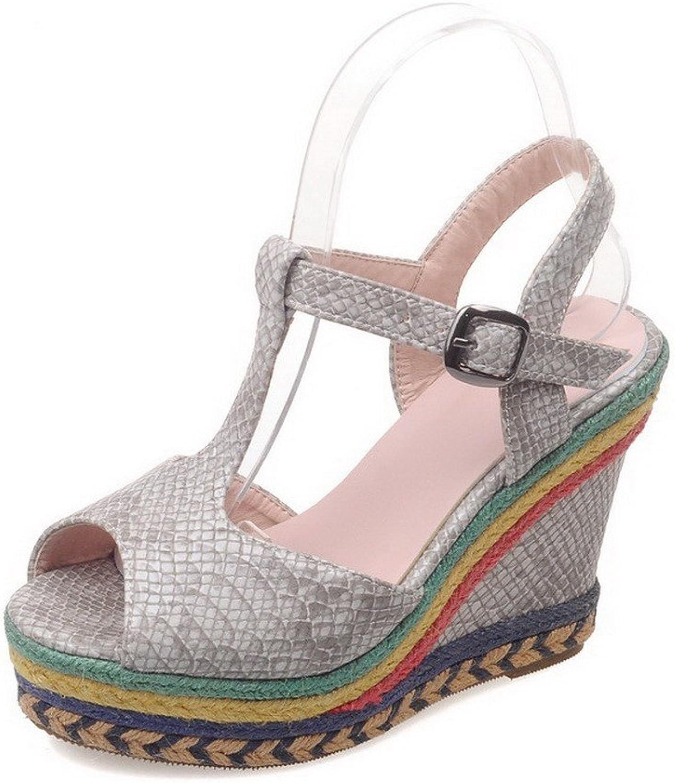 AllhqFashion Women's Buckle High-Heels PU Solid Peep Toe Sandals
